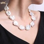 JYX Fine White Freshwater Cultured Baroque Pearl <b>Necklace</b> Party Wedding Jewery Gift AAA 16-20″