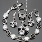 Bridal Black CZ <b>Wedding</b> Silver 925 <b>Jewelry</b> Sets Women Charms Bracelets Pendant&Necklace Rings Earrings White Stones Set Gift Box
