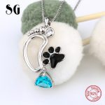 100% 925 sterling silver cute animal dog foot print pendant chain necklace with CZ&enamel diy fashion <b>jewelry</b> <b>making</b> women gifts
