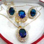 Prett Lovely Women's Wedding fine 10*14mm blue zircon earring pendant ring #6 7,8,9 sterling-silver-<b>jewelry</b>