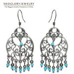 Neoglory Natural Stone <b>Antique</b> Silver Plated Drop Chandelier Earring For Women Vintage Fashion <b>Jewelry</b> 2018 New Arrival