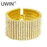 UWIN Hip hop Men's <b>Bracelet</b> Bangle <b>Silver</b> Gold Color 12 Row Bling AAA Rhinestones Crystal <b>Bracelet</b> Chain Rock Punk Jewelry 20cm