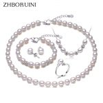 ZHBORUINI Pearl Jewelry Sets Natural Freshwater Pearl Necklace Earrings Ring <b>Bracelet</b> 925 Sterling <b>Silver</b> Jewelry For Women Gift