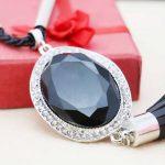 Accessories leather Macrame Black Crystal Necklace Choker Sweater Chain <b>Jewelry</b> crafts 18inch <b>making</b> design women Girls Gifts