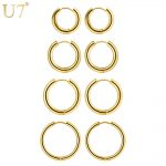 U7 Simple Round Hoop Earrings For Women 4 Pairs/Set 10/14/16/20 mm Stainless Steel Gold/Black Color Minimalist <b>Jewelry</b> E1006