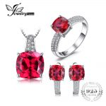 JewelryPalace Created Ruby Ring Necklace Clip Earring <b>Jewelry</b> Set 925 <b>Sterling</b> <b>Silver</b> <b>Jewelry</b> Set Fine <b>Jewelry</b> for Women