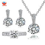 YHAMNI 925 Sterling <b>Silver</b> Jewelry Sets 6mm 1 Carat CZ Diamant Ring <b>Necklace</b> Earrings Set Bridal Jewelry Sets For Women YS039