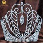 Large 8″ Beauty Pageant Tiara Diadem Austrian Rhinestone Crystal Floral Crown Hair <b>Jewelry</b> Wedding Bridal Prom Party Costumes