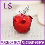 LS High Quality Genuine 925 Silver SNOW WHITE APPLE Charm Beads Fit Original Bracelets Pulseira Encantos.Real Fine <b>Jewelry</b>.J