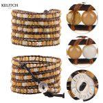 KELITCH Bracelets <b>Jewelry</b> Leather Chain Wrap Natural Yellow Stone Beads Bracelets Crystal <b>Handmade</b> Excellent Charm Bracelet