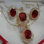 Women's Wedding RED ZIRCONIA Crystal Necklace Pendant Earring Ring Jewellery Sets mujer brincos for <b>jewelry</b> silver mujer moda