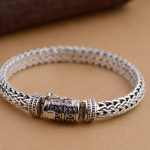 S925 wholesale silver <b>jewelry</b> Mens <b>handmade</b> in Thailand silver buckle Rope Bracelet round