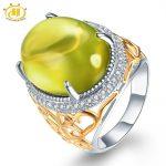 Hutang Stone <b>Jewelry</b> Natural Gemstone Green Lemon Quartz Solid 925 Sterling Silver Wedding Ring Fine <b>Fashion</b> <b>Jewelry</b> For Gift