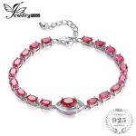 JewelryPalace Eye 10.8ct Created Red Ruby Link <b>Bracelet</b> 925 Sterling <b>Silver</b> Charm <b>Bracelet</b> For Women Luxury Wedding Jewelry Gift