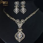 Pera CZ High Quality Gold Color Sparkling Cubic Zirconia Stone Large Vintage <b>Necklace</b> And Earrings <b>Jewelry</b> Set For Women J073