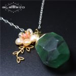 GLSEEVO Natural Crystal Ore Pendant Necklace Flower Fresh Water Pearl 925s Women's Necklace Pendant <b>Handmade</b> Fine <b>Jewelry</b> GN0017