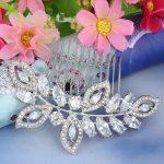 Bella <b>Fashion</b> Luxury Leaf Bridal Hair Comb Cubic Zircon Austrian Crystal Wedding Hair Piece For Accessories Party <b>Jewelry</b> Gift