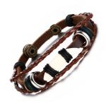 Men's Vintage Wolf Tooth Braided Leather Rope Multilayer Bracelet in Brown African <b>Native</b> <b>American</b> Tribal Male <b>Jewelry</b>