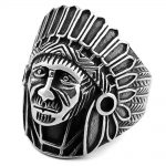 FAITHEASY <b>Native</b> <b>American</b> Indian Chief Head Ring Mens Stainless Steel Biker <b>Jewelry</b> Cool Punk Accessories Men Rings Gift