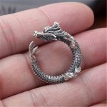 BESTLYBUY S925 wholesale sterling silver <b>jewelry</b> <b>handmade</b> Vintage Silver Dragon domineering personality personality ring opening