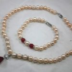 Prett Lovely Women's Wedding charm Jew.657 New Design Pink Pearl Pendant Necklace Bracelet <b>Jewelry</b> Set