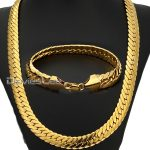 Davieslee 11mm Gold Filled <b>Necklace</b> Chain Close Curb Link Party Daily Wear Fashion Gift Mens Chain Boys <b>Jewelry</b> Set DLGS74