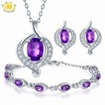 Hutang Pendant & <b>Earrings</b> & Bracelet Natural Gemstone Amethyst Solid 925 Sterling <b>Silver</b> Fine Jewelry Sets For Women's Gift