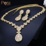Pera Elegant Dubai Women Pear Drop <b>Jewelry</b> Sets Bridal Cubic Zirconia Pendant <b>Necklace</b> And Earrings Set For Wedding Gift J221