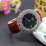 New Arrival S925 Pure <b>Silver</b> Lover`s Watch Leather Band Classical Lovers Thai <b>Silver</b> <b>Bracelet</b> Thailand Process Rhinestone Bangle