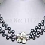2 Rows Shell clasp Freshwater Pearl Necklace new fashion Beads Natural Stone Fashion <b>Jewelry</b> <b>Making</b> Design BV381 Wholesale Price