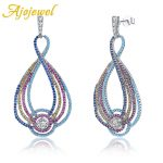 Ajojewel Superiore Ethnic <b>Earring</b> Multicolor Shinning AAA Zircon&Blue Natural Cameo Fashion 925 Sterling <b>Silver</b> Jewelry Present