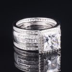 Luxury 925 Sterling <b>Silver</b> Simulated Diamond Ring set 3-in-1 Female <b>jewelry</b> Wedding Rings For Women size 5-10