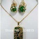 Prett Lovely Women's Wedding Charming Green gem Dragon Pendant necklace earring set silver-<b>jewelry</b> brinco