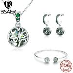 BISAER 925 Sterling <b>Silver</b> Jewelry Set Tree of Life Tree Leaves Necklace Bangle Jewelry Sets for Women Authentic <b>Silver</b> Jewelry