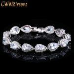 CWWZircons 2018 <b>Fashion</b> Womens Accessories Luxury Cubic Zirconia Water Drop CZ Stone Bracelet Bridal Wedding <b>Jewelry</b> Gift CB135