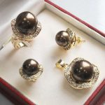Prett Lovely Women's Wedding Set 10mm &14mm brown South sea Shell Pearl Earrings Necklace Ring size 6 7 8 9