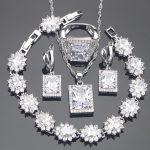 White Zirconia <b>Silver</b> 925 Bridal Jewelry Sets Stone Earrings <b>Bracelet</b> Pendant Ring Necklace For Women Set Jewellery Gift Box