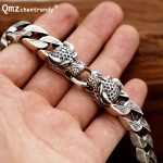 Punk 925 <b>Sterling</b> <b>Silver</b> Vintage cheetahs Bracelets for Men Fine <b>Jewelry</b> Vintage S925 Solid Thai <b>Silver</b> leopards Head Bracelet