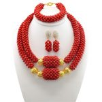 Brides Red Necklace Set Dubai Nigerian Costume Wedding Statement Jewelry Sets Choker African Beads Jewelry Sets For Women