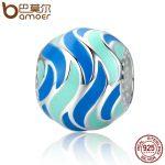BAMOER Authentic 100% 925 Sterling Silver Tropical Fish Pattern Enamel Charm Beads fit Bracelets Bangles DIY <b>Jewelry</b> SCC293