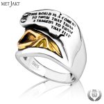MetJakt Pirates of The Caribbean Golden Skull Ring & Hand Carved Alphabet Ring Solid 925 <b>Sterling</b> <b>Silver</b> for Men Punk <b>Jewelry</b>