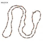 KELITCH <b>Jewelry</b> Classic Long Beaded Strand Natural Beads Summer Necklace Cool Maxi <b>Handmade</b> Round Bead Necklaces For Travel