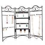 Earrings <b>Necklace</b> Bracelet Eyeglasses Chain Alloy <b>Jewelry</b> Display Organizer Storage Holder Shelf – Black