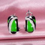 RainMarch Green Enamel Silver Engagement Earrings For Women 925 Sterling Silver Earring <b>Handmade</b> Enamel Party <b>Jewelry</b>