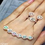 KJJEAXCMY boutique jewels 925 <b>Silver</b> inlay natural opal women's suit fire color good exquisite set jewelry