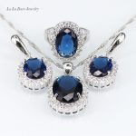 L&B <b>Handmade</b> Blue crystal White Zircon <b>Jewelry</b> Sets for Women Silver Color Necklace crystal Pendant Earrings Ring
