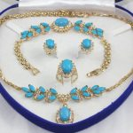 Women's Wedding fast shipping>1set Yellow GP Inlay stone Necklace Bracelet Earring Ring A+ No box real silver <b>jewelry</b>