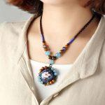 BOEYCJR Natural Stone Enamel Beads Necklace Choker Short Chain <b>Handmade</b> Vintage <b>Jewelry</b> Ethnic Pendant Necklace For Women 2017