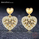 ANFASNI New Arrival 925 Sterling Silver Love Heart Hive Stud Earrings For Women Gold Earring <b>Wedding</b> Engagement <b>Jewelry</b> PSER012