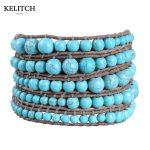 KELITCH <b>Jewelry</b> 1Pcs Irregular Stone 8mm 4mm Leather Chain <b>Handmade</b> Bracelet with Customized LOGO Button Drop Shipping Card Bag